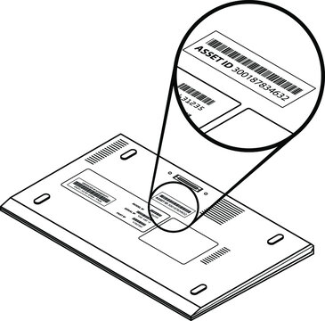 Laptop with a call-out showing an asset id sticker with a number and barcode.