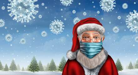Door stickers Wall Decor With Your Own Photos Santa Wearing A Mask
