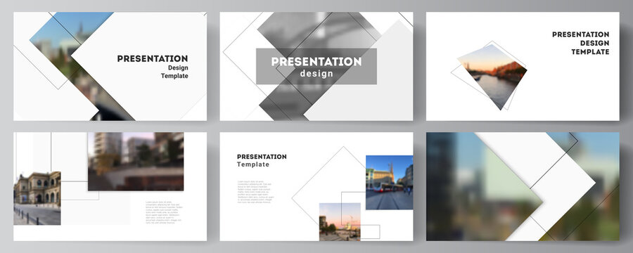 Vector layout of the presentation slides design business templates, multipurpose template with geometric simple shapes, lines and photo place for presentation brochure, brochure cover, business report