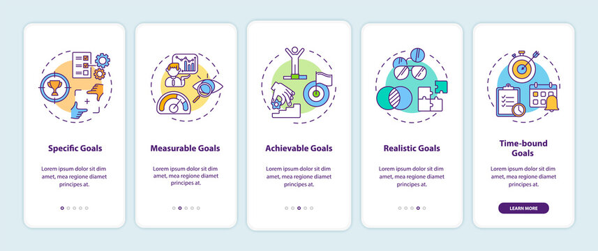 Smart goals definition onboarding mobile app page screen with concepts. Communication strategy walkthrough 5 steps graphic instructions. UI vector template with RGB color illustrations