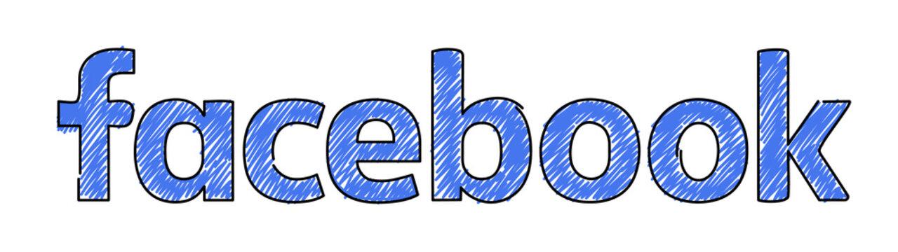 August 24, 2020: Facebook logo in marker hand drawn design