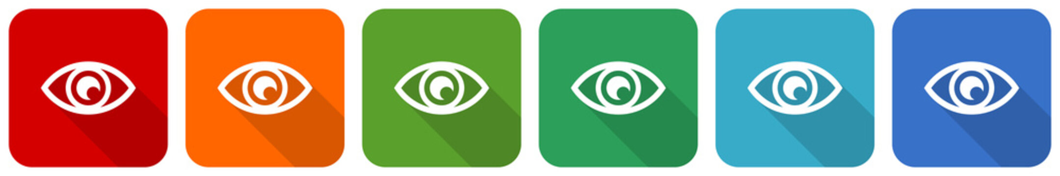 Eye, see, vision, sight and view icon set, flat design vector illustration in 6 colors options for webdesign and mobile applications