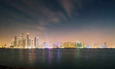 Fototapete - skyscrapers in Dubai Marina, sunset time, UAE