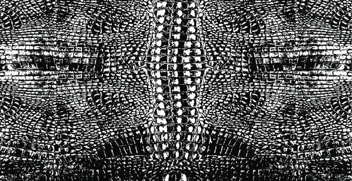 Snakeskin pattern imitation. Lines and spots structural texture. Cool and artsy faux leather background. Abstract vector illustration. Black isolated on white. EPS10
