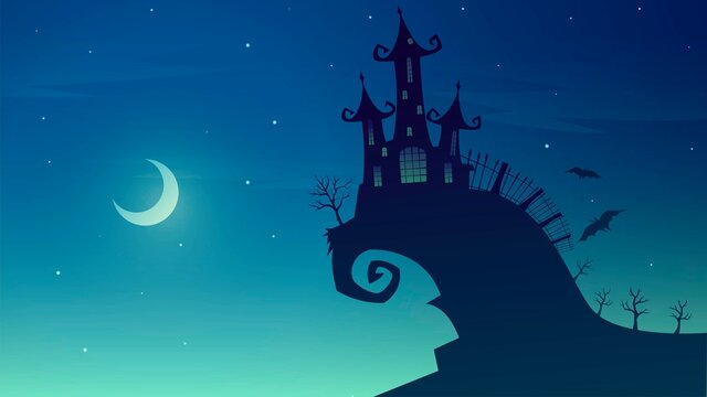 Vector spooky illustration with cemetery castle on the mountain on a moonlit night, halloween background