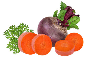 Fototapete - Beetroot and carrot isolated on white background