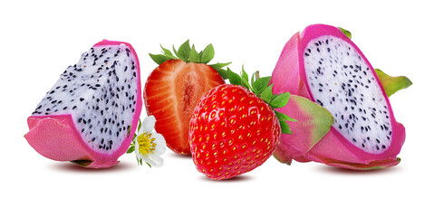 Fototapete - Dragon fruit and strawberry  isolated on white background