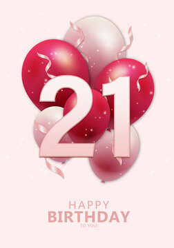 Happy 21st birthday with realistic red and rosegold balloons on light rose background. Set for Birthday, Anniversary, Celebration Party. Vector stock.