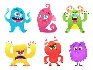 Photo sur Aluminium Creatures Cartoon monsters. Goblin gremlin troll scary cute faces of colored monsters vector funny characters