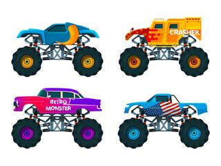 Van 4x4 with big wheels. Vector pictures of monster trucks