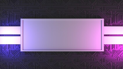 Background for text, future, place for text on a chip. 3D