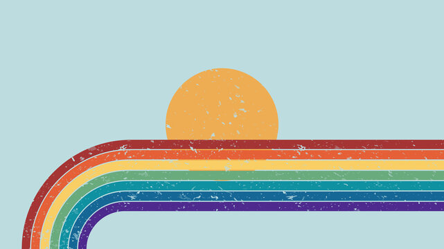 Vector illustration. Abstract background. Contemporary style. Colorful rainbow. Grunge texture. Panoramic wallpaper. Decorative art. Clear sky with sun. Geometric lines.