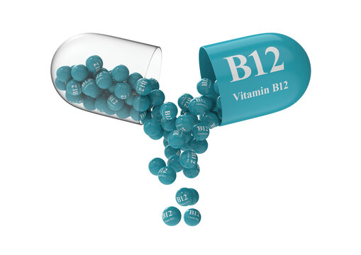 Open capsule with b12 from which the vitamin composition is poured. Medical 3D rendering illustration
