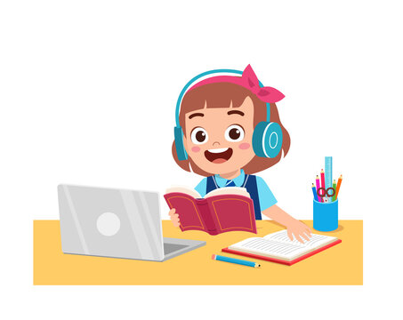 happy cute little kid do home school with computer laptop connect to internet study e-learning and course. e-learning web element