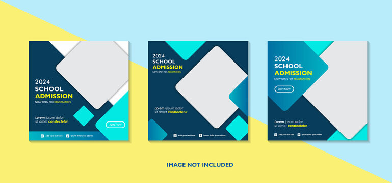 Geometric school education admission design for social media post template