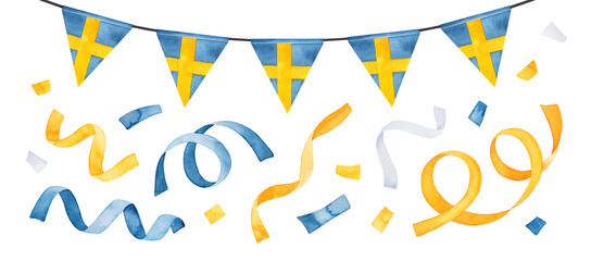 Water color collection of festive garland, flag of Sweden and party confetti. Blue, yellow and white colours. Handdrawn watercolour graphic painting, cut out clip art elements for design decoration.