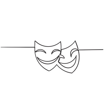 hand drawn doodle theater mask icon illustration vector isolated