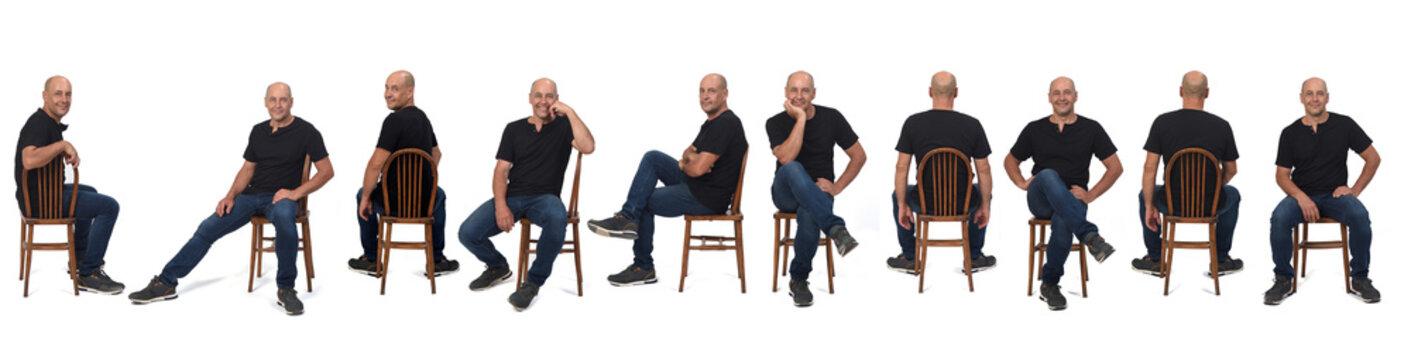 same man sitting on white background
