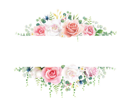 Pink and white rose with greenery banner on white background. Beautiful template for wedding invitation or greeting card, banner. All elements are isolated and editable. Vector.