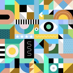 Photo sur Plexiglas Art abstrait Abstract geometry art vector illustration. Multicolored seamless design.