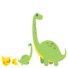 Photo sur Plexiglas Dinosaurs cute dino with baby character vector illustration