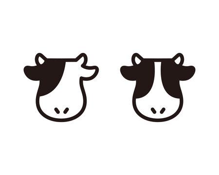 牛のアイコンのセット/イラスト/シルエット/丑/シンプル