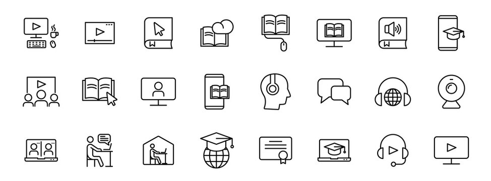 e learning outline vector icons isolated on white. e learning icon set for web and ui design, mobile apps and print products