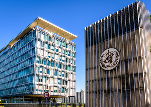 Geneva, Switzerland - September 3, 2020: Headquarters of the World Health Organization (WHO), a specialized agency of the United Nations responsible for international public health.