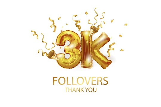 3 thousand. Thank you, followers. 3D vector illustration for blog or post design. 3K gold sign made of foil gold balls with confetti on a white background. Holiday banner in social networks.