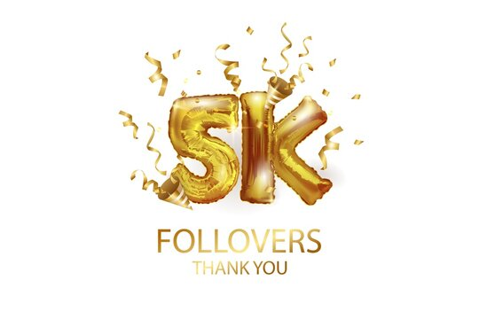 5 thousand. Thank you, followers. 3D vector illustration for blog or post design. 5K gold sign made of foil gold balls with confetti on a white background. Holiday banner in social networks.