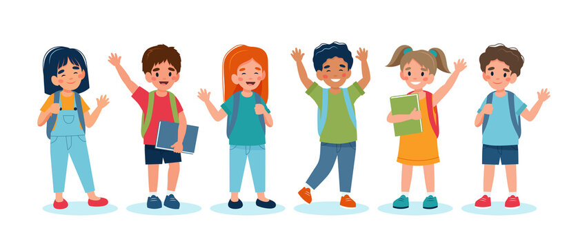 Children back to school, set of cute characters. illustration in flat style