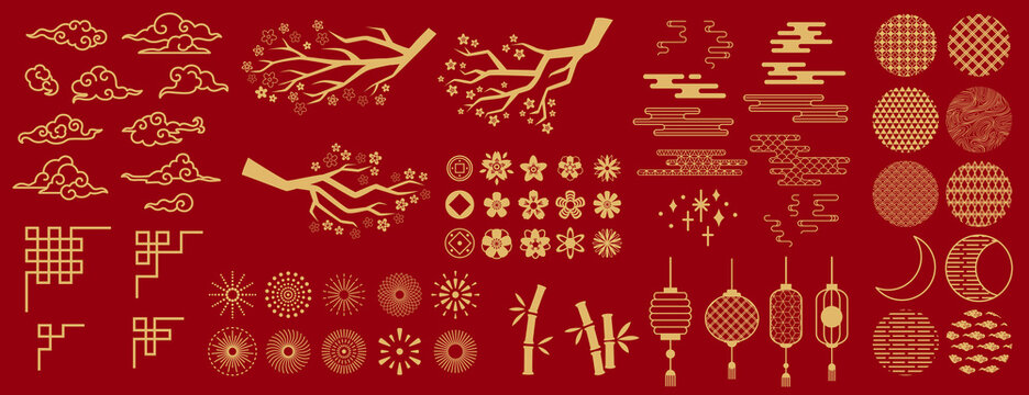 Asia elements. Chinese festive decor gold floral patterns and ornament, lanterns, clouds and moon, flowers sakura branch oriental vector set. Japanese decoration symbols as bamboo and branches