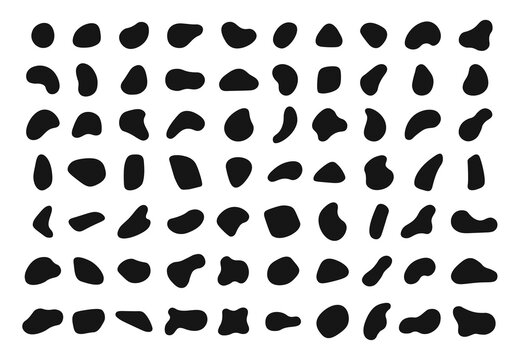 Random shapes. Black blobs, round abstract organic shape collection. Pebble, drops and stone silhouettes. Blotch, inkblot texture vector set. Rounded spot or speck of irregular form