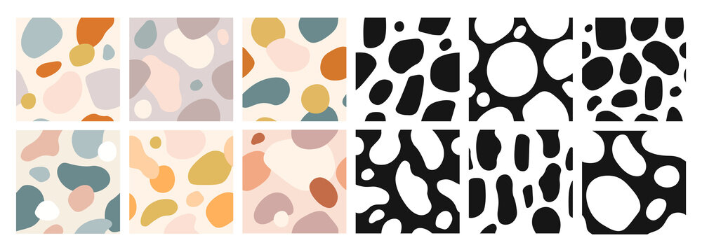 Organic shapes seamless pattern. Abstract art color watercolor paint blobs. Expressive vector wallpaper modern textures set. Colorful, black and white forms collection. Pastel color blotches