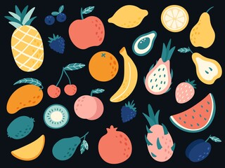 Hand drawn tropical fruits. Organic apple, banana, lemon and pear slices, cherry and mango, watermelon and strawberry with vitamins. Vegetarian products, healthy food vector illustration