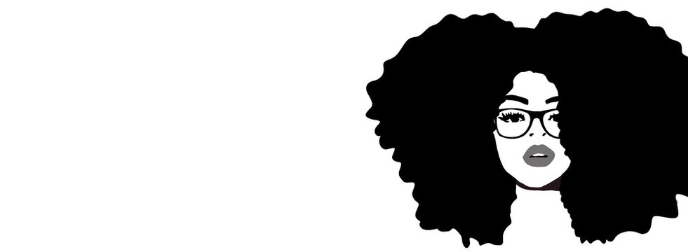 Combing afro hair with comb. Black woman. hair care. African american girl with afro hair, illustration