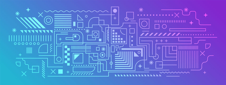 Abstract technology background in line art style design. Vector illustration.