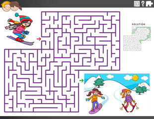 maze educational game with skiing girls characters