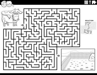 maze game with  cow and pasture coloring book page