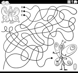 line maze with butterflies coloring book page