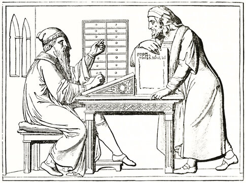 Gutenberg on his desk. Old engraved reproduction of bas relief monument, Mainz. Ancient engraving style art by unidentified author, The Penny Magazine, London 1837