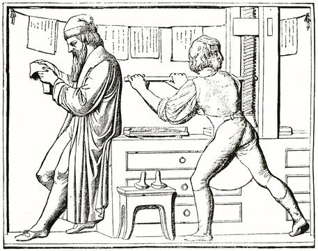 Gutenberg checking print while his reliant uses press. Old engraved reproduction of bas relief monument, Mainz. Ancient engraving style art by unidentified author, The Penny Magazine, London 1837
