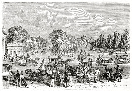 Hide Park, London, and its front street crossed by several people and carriages. Ancient engraving style art by unidentified author, The Penny Magazine, London 1837