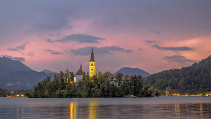 Landscape Lake bled with church on island