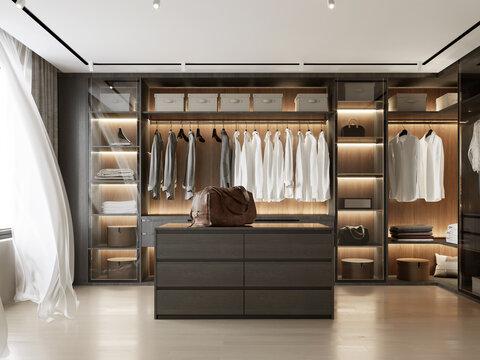 3d rendering of a Luxury modern dark wood dressing room