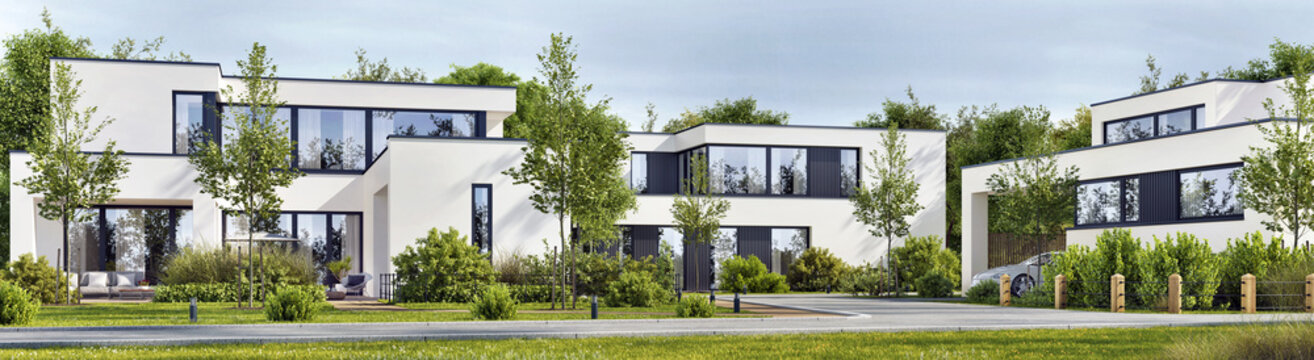 Residential neighbourhood street with modern family homes. Modern architecture houses