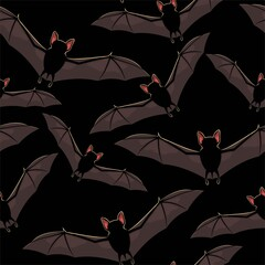 Vector seamless halloween pattern with flying bat
