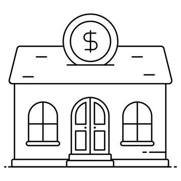 Icon of real estate crowdfunding, dollar coin with building