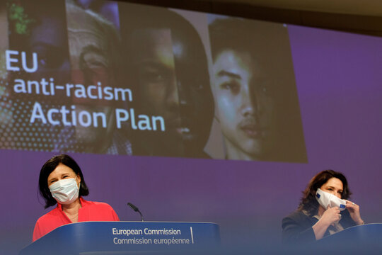 Media conference on EU anti-racism Action Plan at EC HQ in Brussels