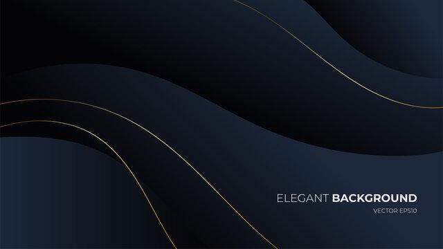 Abstract wavy luxury dark blue background. Illustration vector for backgrop, poster, flyer, digital board and concept design. Minimalist elegant premium design.